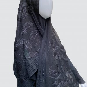 Leafy Black Georgette Scarf