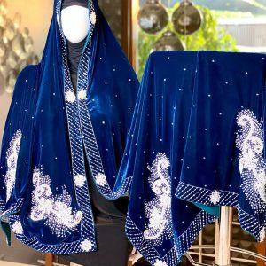 Royal Pearl Blue Silk Velvet