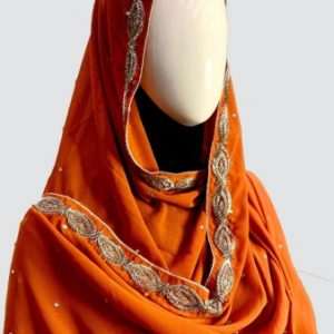 Orange Embroidered Scarf