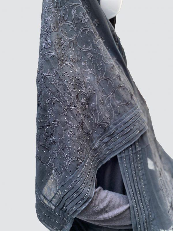 Flowery Black Georgette Scarf