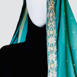 Silvery Turquoise Embroidered Scarf,