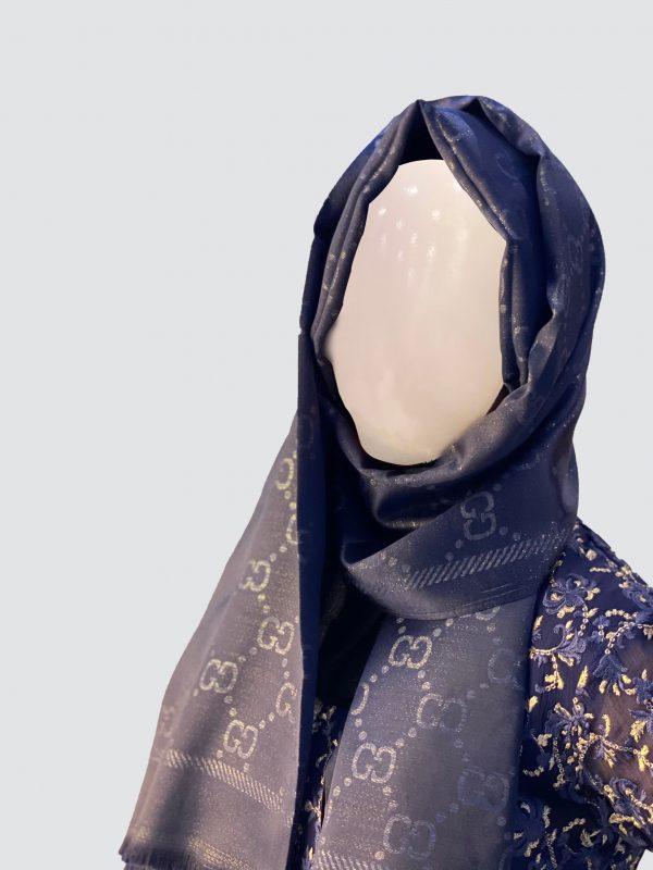 Dark Blue Shimmer Silk Scarf