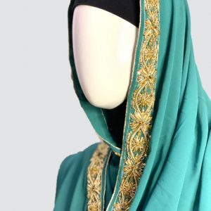Antique Turquoise Embroidered Scarf